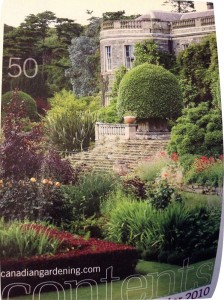 Clipping from TOC pg., Canadian Gardening magazine, Winter 2010 Edition